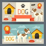 Horizontal banners with cute dog, icons and. Objects Stock Photography