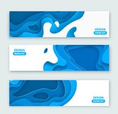 Horizontal banners with 3D abstract background, blue paper cut shapes. Vector design layout for business presentations, flyers, po. Sters and invitations Royalty Free Stock Photography