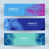 Horizontal banners with 3D abstract background with paper cut shapes. Bright modern abstract design. Vector illustration Stock Images