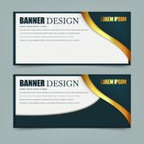 Horizontal banners with 3D abstract background on white background. Vector illustration. royalty free illustration