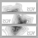 Horizontal banners with 3D abstract Paper background waves, holes. Paper carve background. Modern origami design template for bann. Er, invitation, poster or web Royalty Free Stock Photography