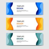 Horizontal banners with 3D abstract paper cut style. Vector design layout for web, banner, header, headline, blog, web profile. Horizontal business corporate vector illustration