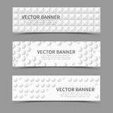 Horizontal banners with 3D geometric shapes. Set of horizontal banners with 3D geometric shapes. Geometric bulge, cover texture, vector illustration Stock Images