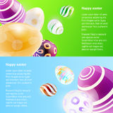 Horizontal banners with easter eggs. Royalty Free Stock Photos