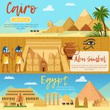 Horizontal banners of egypt landscape. Vector pictures set in cartoon style Royalty Free Stock Photos