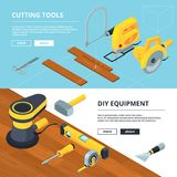 Horizontal banners with electrical tools for construction. Instrument electric and repair industry, vector illustration vector illustration