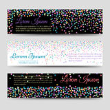 Horizontal banners with falling colorful confetti Stock Image