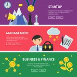 Horizontal banners with flat illustrations of business theme. Vector business finance organization, development and management, investment and startup idea Royalty Free Stock Photography