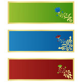 Horizontal banners. With floral design elements Stock Illustration