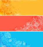 Horizontal  banners with flowers Royalty Free Stock Image