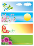 Horizontal backgrounds with flowers - vector Royalty Free Stock Photos
