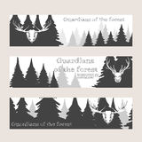 Horizontal banners with forest and deer Stock Image