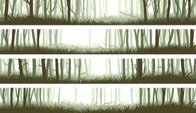 Horizontal banners forest with trunks and clearing in woods. Set horizontal banners misty forest with clearing in woods and trunks of trees (green tone Stock Image