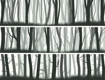 Horizontal banners forest with trunks of trees. Royalty Free Stock Photography