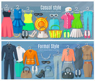 Horizontal Banners Of Formal And Casual Woman. Woman clothes horizontal banners set of collection in formal and casual fashion styles vector illustration Royalty Free Stock Photos