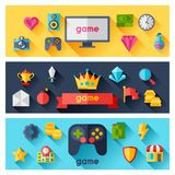 Horizontal banners with game icons in flat design Stock Image