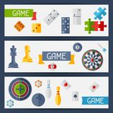 Horizontal banners with game icons in flat design Royalty Free Stock Photography