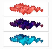 Horizontal Banners with Hearts Royalty Free Stock Images