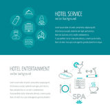 Horizontal banners of hotel service and entertainment. Icons in the flat design with sample text. Vector Stock Photography