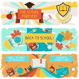 Horizontal banners with an illustration of school Stock Photography
