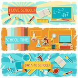 Horizontal banners with an illustration of school Stock Image