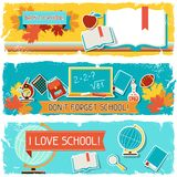 Horizontal banners with an illustration of school Stock Photo