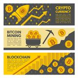 Horizontal banners with illustrations of bitcoin mining industry. Crypto currency and exchange bitcoin money vector concept Stock Photography