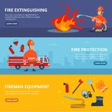 Horizontal banners with illustrations of firefighter in uniform. Firefighter equipment for emergency, rescue and firefighting vector Stock Photo