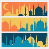 Horizontal banners with Islamic mosques in flat Royalty Free Stock Photo