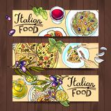 Horizontal banners italian food Stock Photos