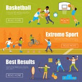 Horizontal Banners Of Kids Sport. Horizontal banners of kids playing basketball and baseball doing extreme sport and archery for best results vector illustration Stock Image