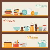 Horizontal banners with kitchen and restaurant Royalty Free Stock Photo