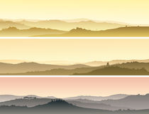Horizontal banners of landscape of valley with manors at sunset. Royalty Free Stock Images