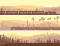 Horizontal banners of locomotive, train and hills coniferous woo Royalty Free Stock Photos
