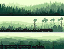 Horizontal banners of locomotive, train and hills coniferous woo. Horizontal abstract banners: locomotive and the high speed train on background hills of stock illustration