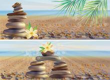 Horizontal banners  with massage spa stones Royalty Free Stock Photos