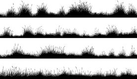 Horizontal banners of meadow silhouettes with grass Stock Photo