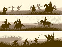 Horizontal banners of medieval battle. Horizontal vector banners of battle fighting swordsmen, spearmen and cavalry in the battle field Stock Image