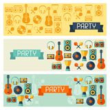 Horizontal banners with musical instruments in Royalty Free Stock Photo