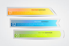 3 horizontal banners with numbers. And place for own text Stock Images