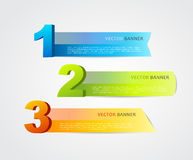 3 horizontal banners with numbers. And place for own text Royalty Free Stock Photos