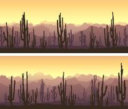 Free Horizontal Banners Of Desert With Cacti And Mountains At Sunset. Stock Photo - 147123720