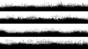 Free Horizontal Banners Of Meadow Silhouettes With Short Grass. Stock Photography - 111403812