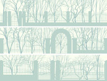 Horizontal banners of park with fence. Stock Photos