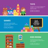 Horizontal banners with pictures of toys for kids vector illustration