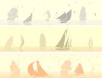 Horizontal banners of sailing ships with birds. Royalty Free Stock Image