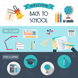 Horizontal banners with school and education icons. Back to school. Flat design.  Stock Photography