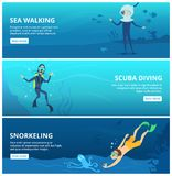 Horizontal banners with sea scuba divers. Funny cartoon characters. Scuba diver underwater swim ocean, vector illustration Stock Images