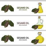 3 horizontal banners, sesame oil in color 1 Royalty Free Stock Images