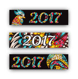 Horizontal Banners Set with 2017 Chinese New Year Rooster. Vector illustration. Horizontal Banners Set with 2017 Chinese New Year Rooster. Black Vector Royalty Free Stock Photo
